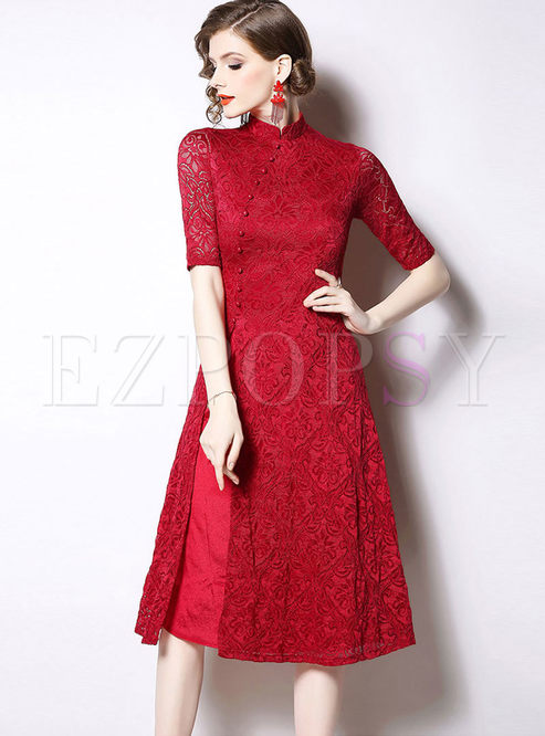 Retro Mandarin Collar Half Sleeve Slit Dress