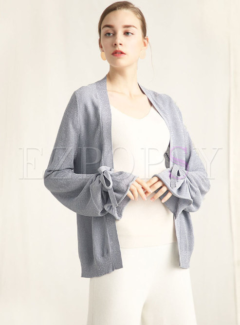 Solid Color Flare Sleeve Bowknot Cardigan