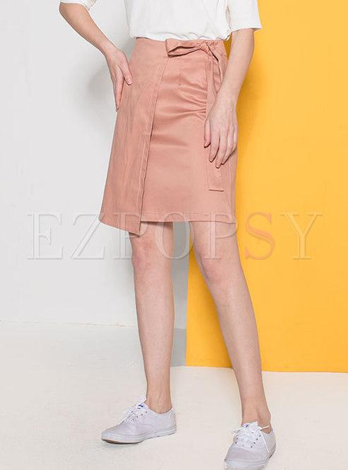 Solid Color High Waist Bowknot Mini Skirt
