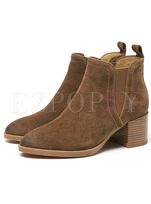 Stylish Frosted Chunky Heel Genuine Leather Boots
