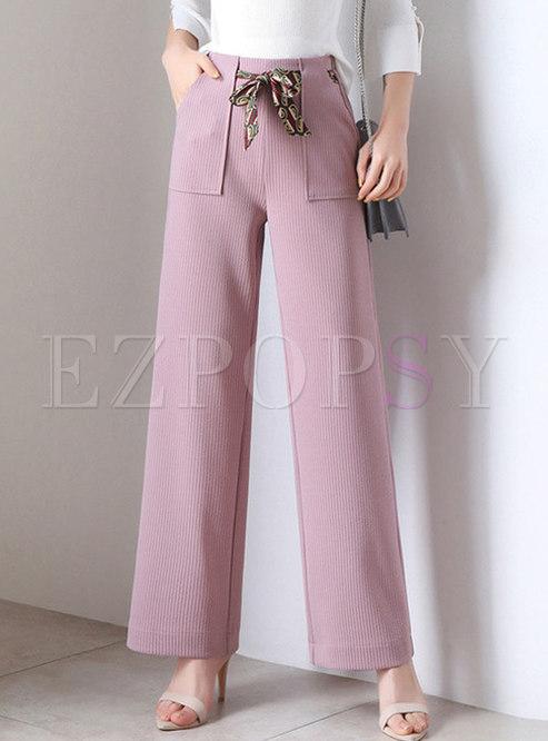 Solid Color Tied Waist Wide Leg Pants
