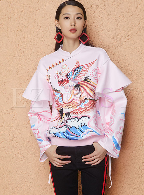 Pink Print Stand Collar Falbala Sweatshirt