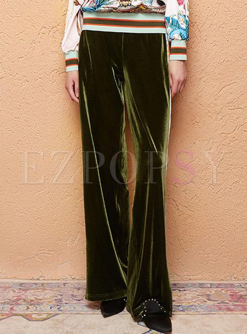 Casual Color-blocked Velvet Wide Leg Pants