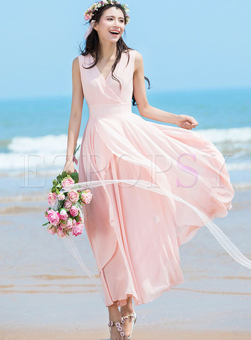 Sweet Solid Color Asymmetric Sleeveless Maxi Dress