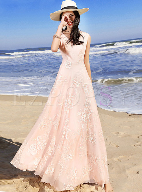 Trendy Embroidered Solid Color Sleeveless Maxi Dress