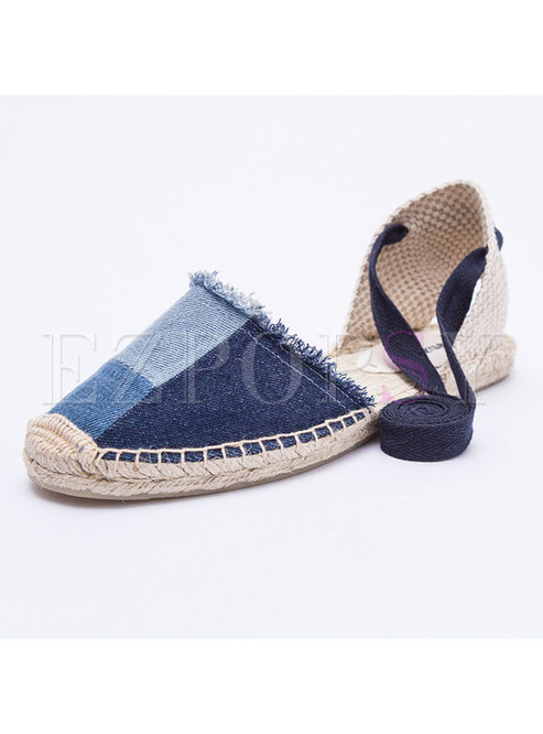 ded5ca88a76 Shoes.   Women Comfortable Color-blocked Denim Flat Sandals