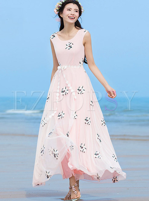 Stylish Sweet Mesh Embroidered Tied O-neck Dress
