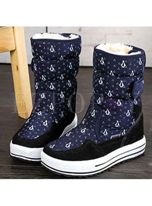 Casual Penguin Print Platform Snow Boots