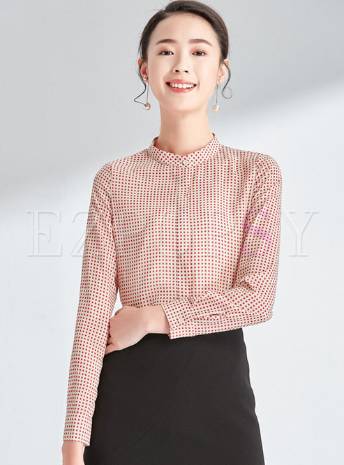 Casual Stand Collar Ploka Dot Blouse
