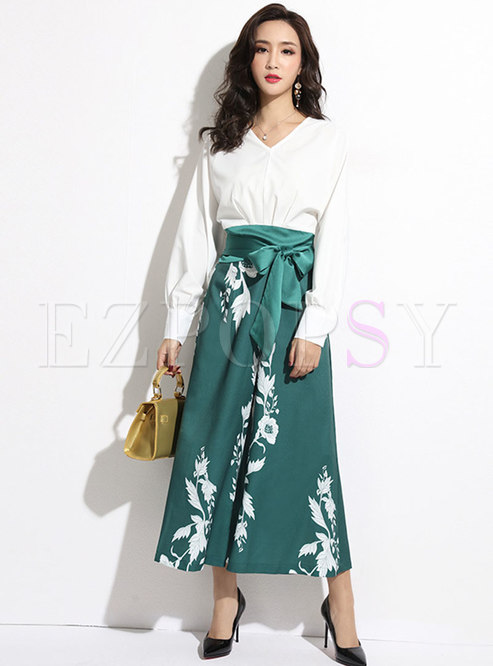 Elegant Color-blocked Print V-neck Slim Wide Leg Pants