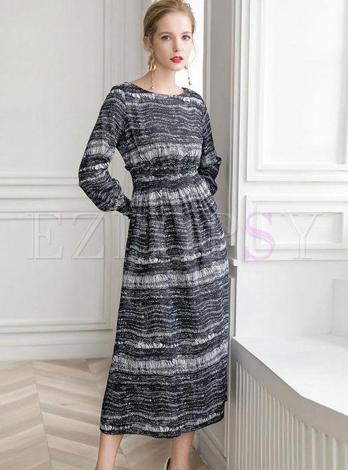 Casual O-neck Long Sleeve Elastic Waist Dress