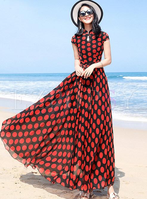 Fashion Color-blocked Pot Tied Maxi Dress