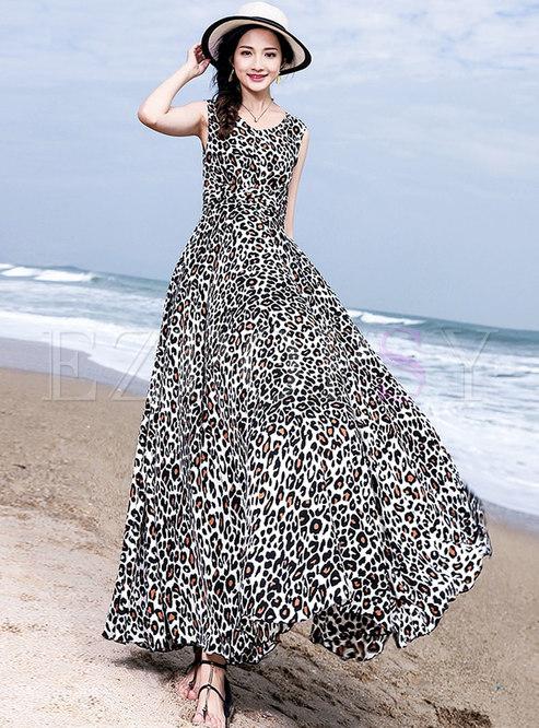 Sexy Leopard Print Sleeveless Chiffion Dress