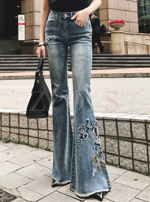 Chic Denim Embroidered Flare Pants