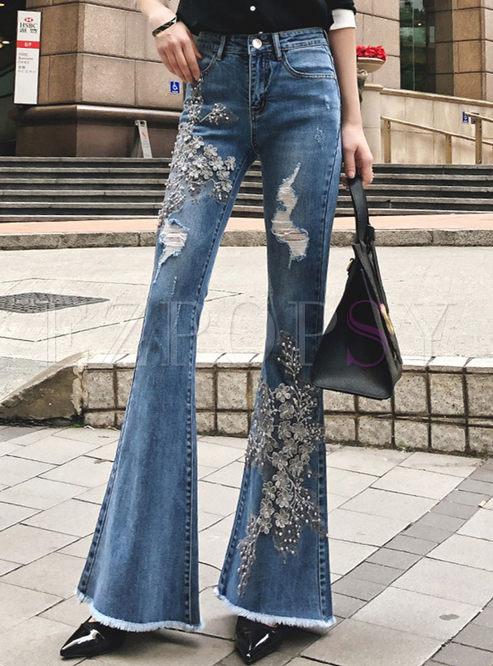 Fashion Denim Embroidered High Waist Flare Pants