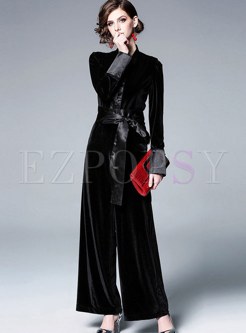 Fashion V-neck Waist Wide Leg Jumpsuit
