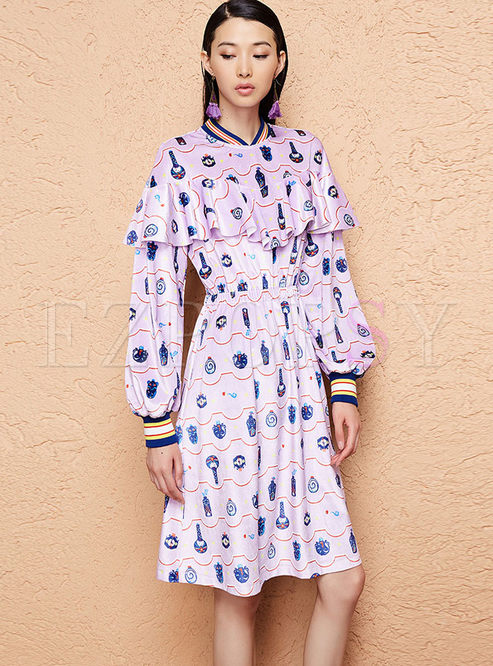 Stylish Falbala Long Sleeve Print Dress