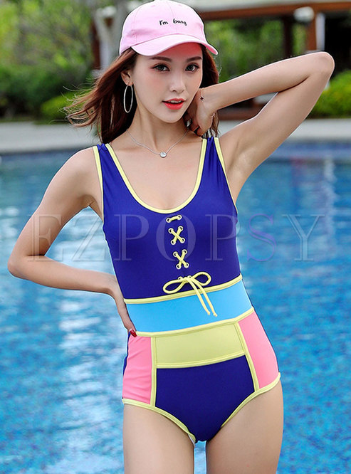 Stylish Backless Tied Colorblock Swimwear