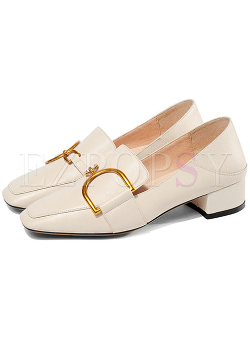 Women Beige Square Toe Chunky Heel Shoes