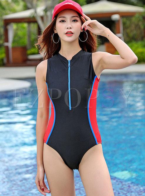 Black Splicing Zippered One Piece Swimwear