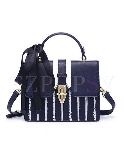 Stylish Striped Clasp Lock Bowknot Crossbody Bag