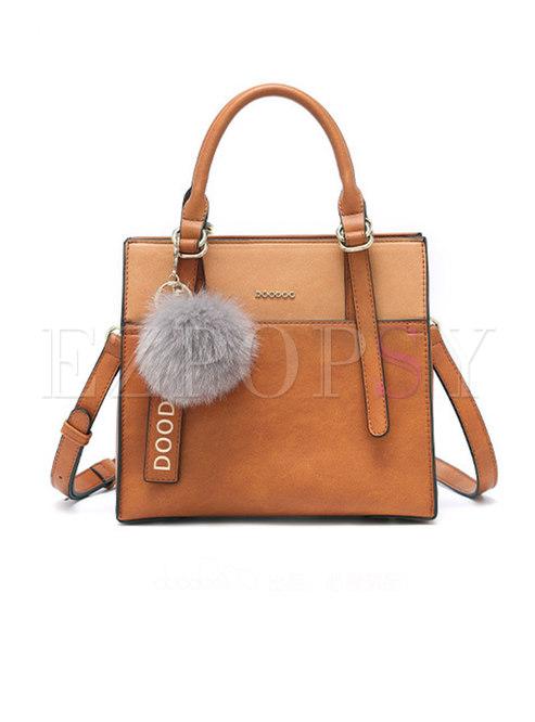 Casual PU Zipper Top Handle & Crossbody Bag