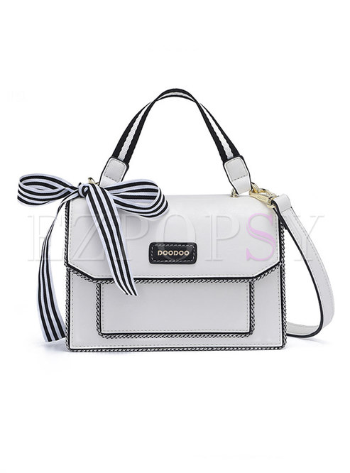 Trendy Color-blocked PU Bowknot Top Handle & Crossbody Bag