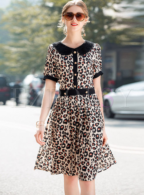 Leopard Lace Splicing Lapel A line Dress