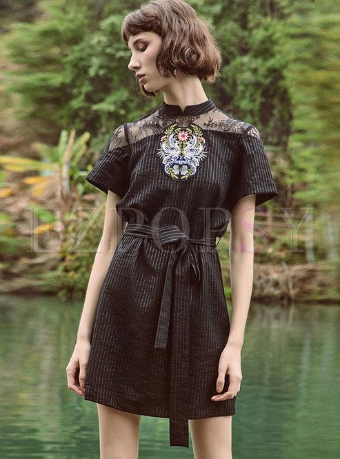 Retro Solid Color Short Sleeve Waist Dress