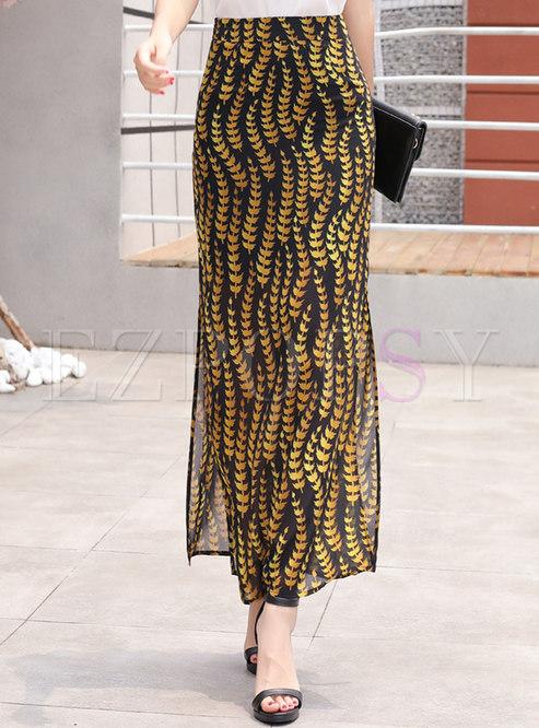 Floral High Waist Side-slit Chiffon Skirt
