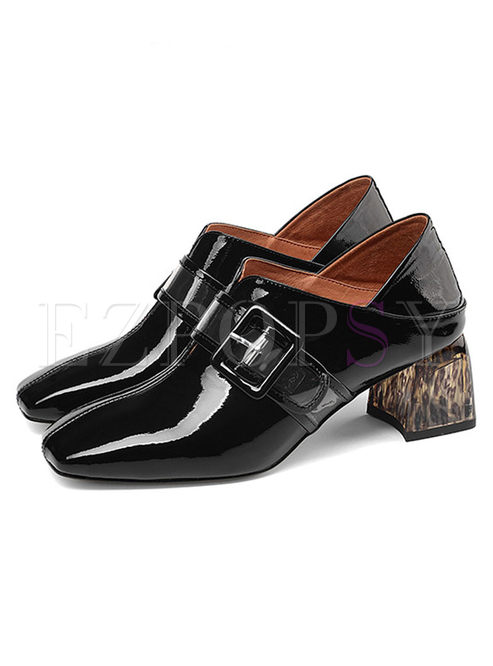 Fashion Square Heel Shoes With Metal