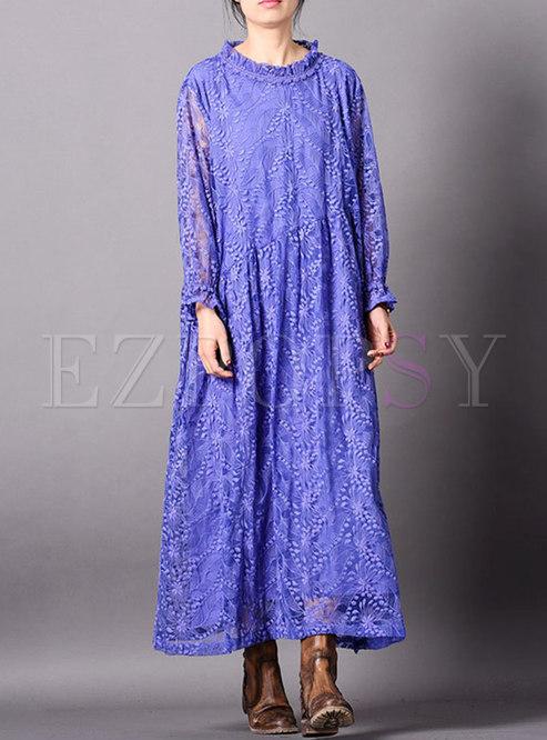 Ruffled Collar Embroidered Flare Sleeve Maxi Dress