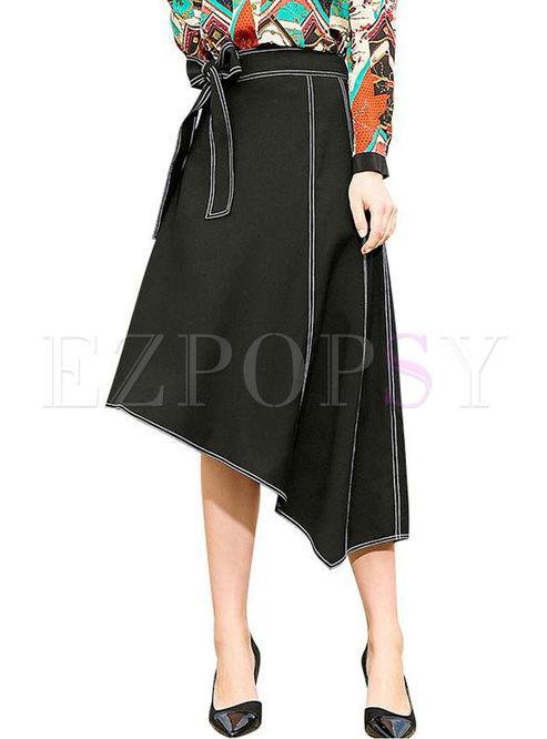 High Waist Bowknot Waist Irregular Skirt