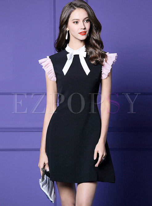 Fashion Bowknot Flouncing Sleeveless A-line Dress