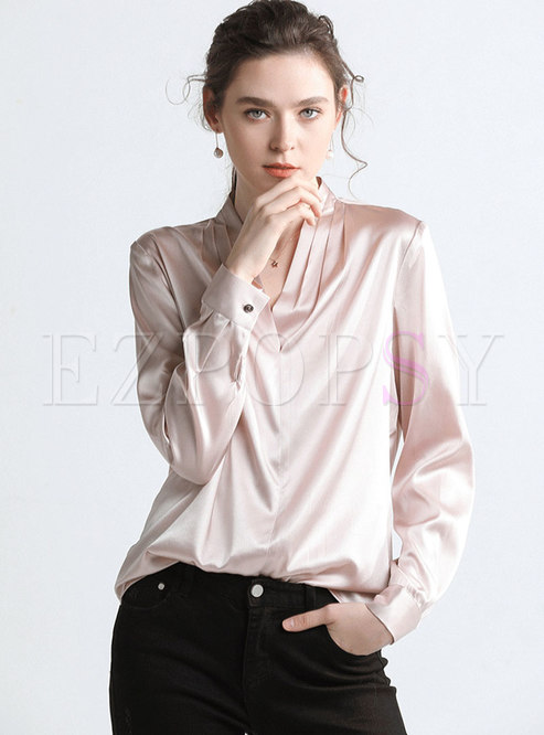 Elegant Pure Color V-neck Pullover Blouse
