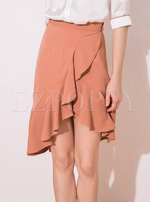 Asymmetric Solid Color Flouncing Skirt