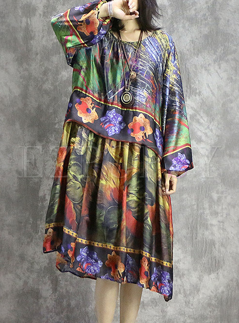O-neck Color-blocked Print Irregular Shift Dress