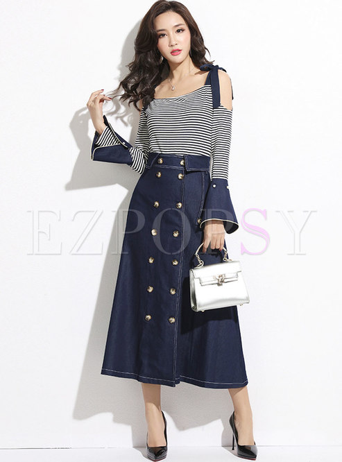 Stylish Backless Striped Tied Knit Top & Denim A-line Skirt