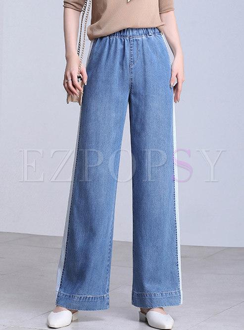 Denim Splicing Color-blocked Casual Pants