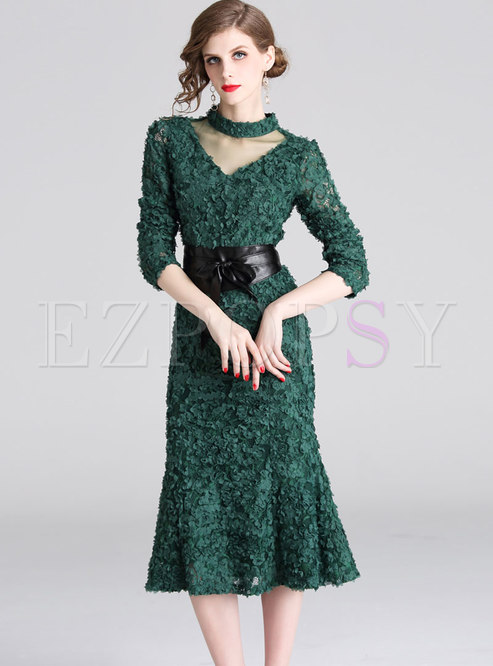 Elegant Mesh Splicing Stereoscopic Petals Mermaid Dress