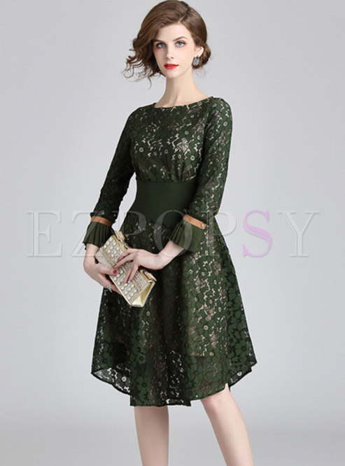 Vintage Lace Splicing Flare Sleeve A-line Dress