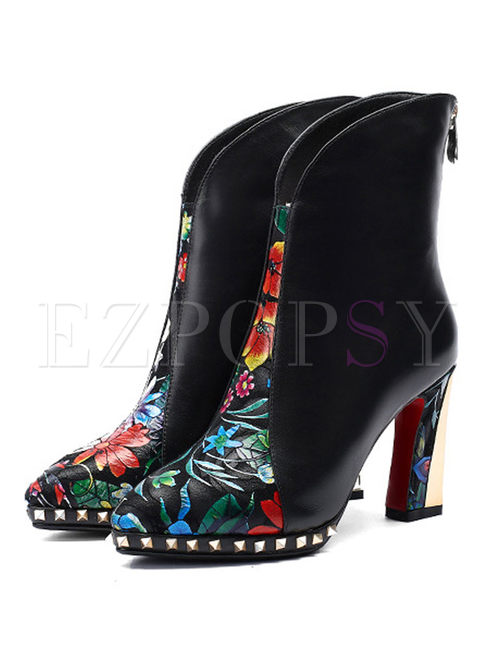 Color-blocked Print High Heel Short Boots