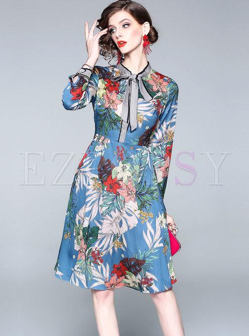 Elegant Floral Print Tied Bowkot Skater Dress