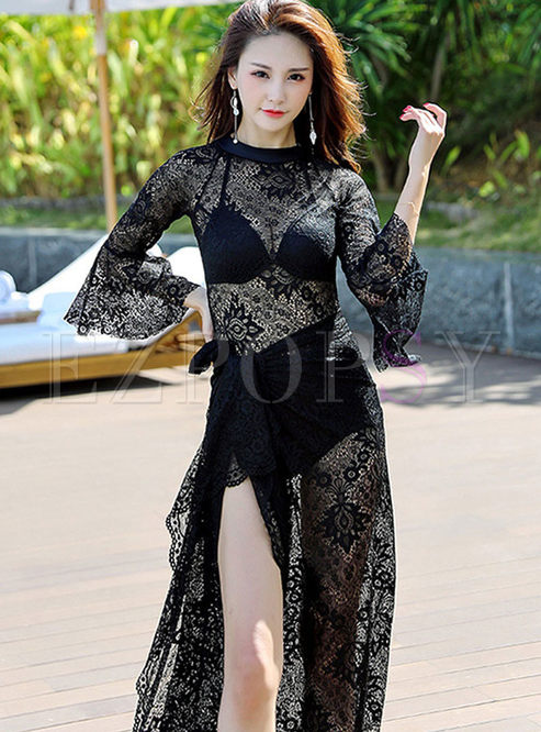 Sexy Perspective Lace Cover-up Swimwear