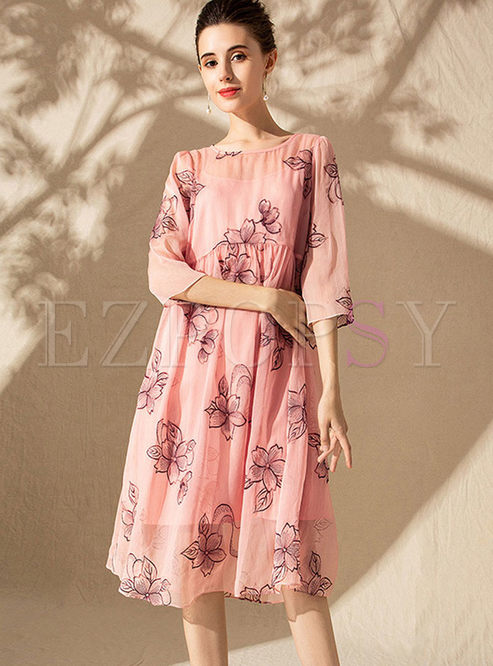 O-neck Three Quarters Sleeve Print Dress With Cami