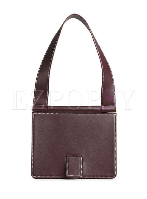 Vintage Leather Clasp Lock Shoulder Bag
