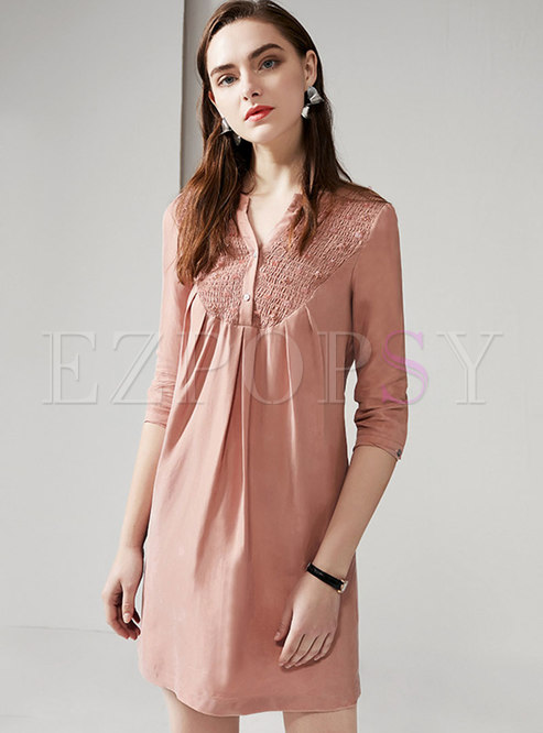 Casual V-neck Drilling Shift Mini Dress