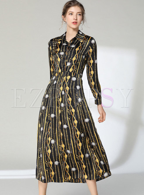 Lapel Long Sleeve Print Slim Maxi Dress