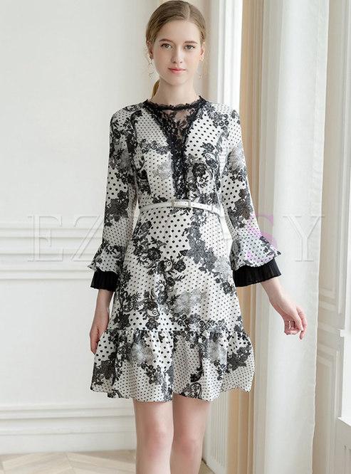 Stylish Color-blocked Print High Waist Mini Dress