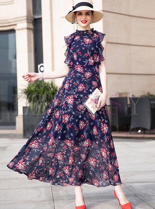 Bohemian Sleeveless Waist Floral Maxi Dress